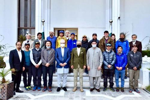 Group photo of First K-2 Winter Summit team of Nepali Mountaineers  along with office bearer of Alpine Club after  meeting with the  President of Pakistan at Aiwan-e-Sdar, Islamabad.
