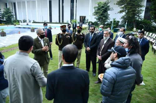 Call on by the President of at Aiwan-e,-Sadr Pakistan Nepali Winter K-2 Expedition Team n Alpine Club of Pakistan's Executive Board members, JS(Sports) n Secretary IPC were also present.